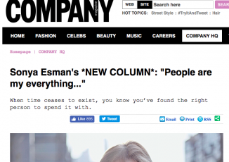 Sonya Esman joins Company Magazine as Online Editor-at-large